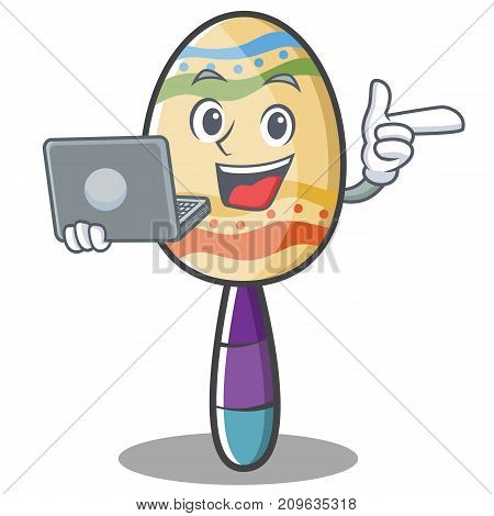 With laptop maracas character cartoon style vector illustration