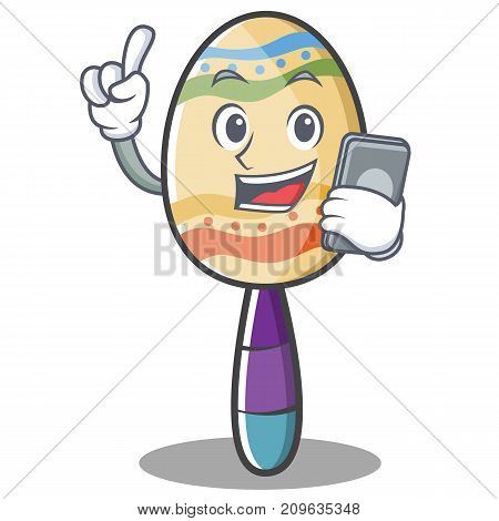 With phone maracas character cartoon style vector illustration