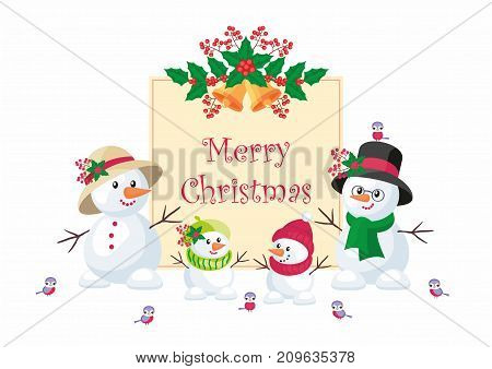 Christmas greeting card with the image of snowmen. Vector background.