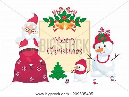 Christmas greeting card with the image of Santa Claus and funny snowmen. Vector background.