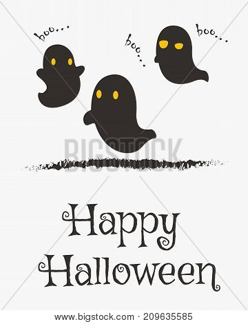 Happy Halloween card design, wandering ghosts silhouette cartoon vector