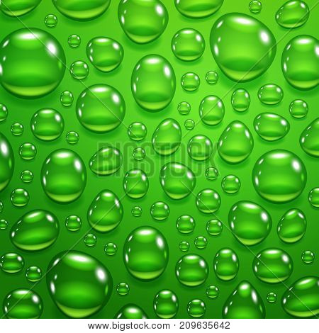 Water drops on the green background, vector illustration