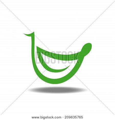 Green leaf smile combination logo. Eco friendly concept