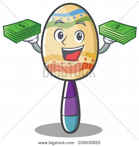 With money maracas character cartoon style vector illustration