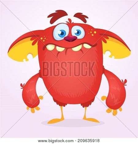 Cute happy cartoon monster. Vector illustration of red monster mascot