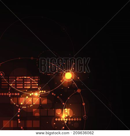 Technology in geometric concept on a dark orange background.
