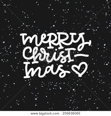 Merry christmas hand lettering on black background. Can be used on postcards, invitations, bags and etc.