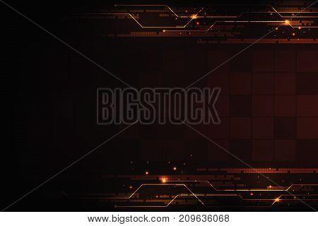 Technology in digital concept on a dark orange background.