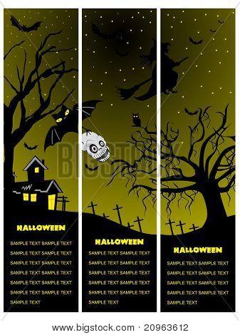 set of three halloween banner, illustration
