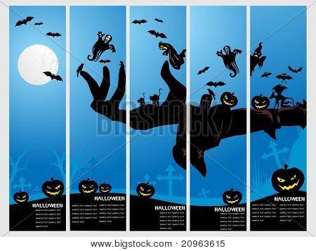 set of five halloween banner, illustration