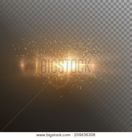 Illustration of Vector Lens Flare. Realistic Vector Flare Glow Effect