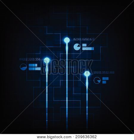 Digital movement on a dark blue background.