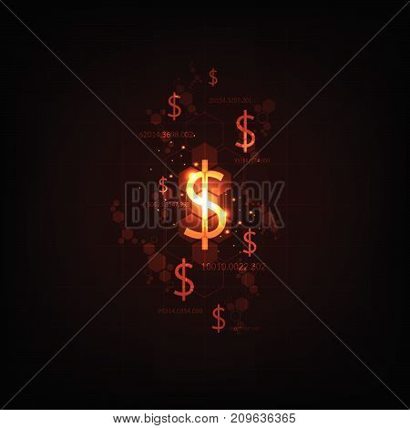 Electronic money alternative to the future on a dark orange background.