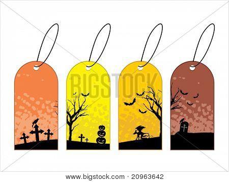 vector set of three halloween concept tag