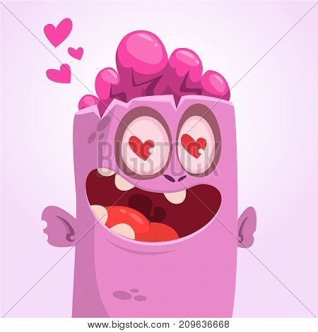 Cartoon square zombie face head in love. St Valentine's Day