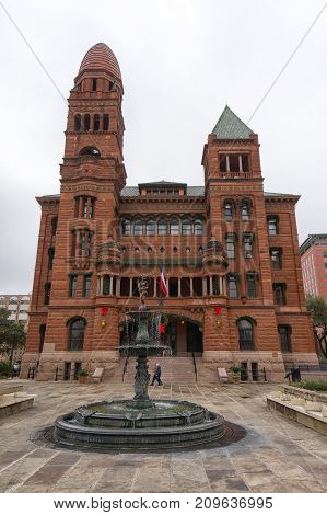 January 8, 2016 San Antonio: the Bexar county courthouse built of red sandstone was completed in 1896