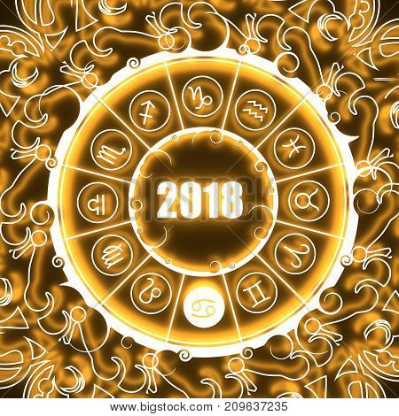 Astrological symbols in the circle. Crab sign. Celebration card template. Neon shine illumination. Zodiac circle with 2018 new year number. 3D rendering