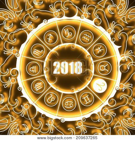 Astrological symbols in the circle. Aries sign. Celebration card template. Neon shine illumination. Zodiac circle with 2018 new year number. 3D rendering
