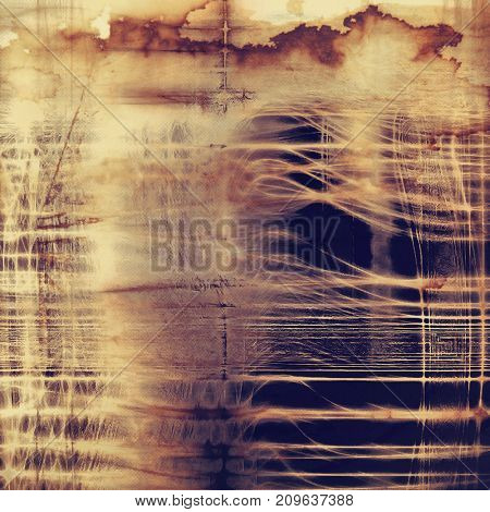 Vintage frame, grunge background with old style decor elements and different color patterns