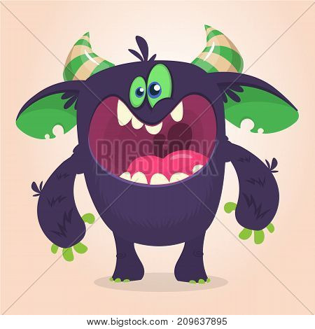 Angry cartoon black monster screanimg. Yelling angry monster expression. Big collection of cute monsters. Halloween character. Vector illustrations. Good for book illustration magazine prints or journal article