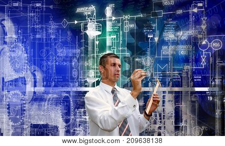 Construction industrial technology. manufacturing engineering designing. engineer.powerindustry