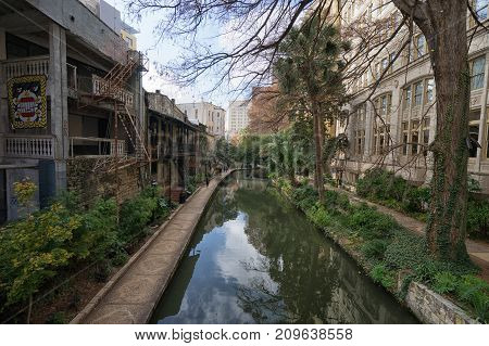 January 8 2016 San Antonio: the river walk through the downtown area is a network of walkways along the banks of the San Antonio River