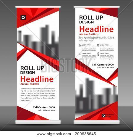Red Roll up banner stand template design, flyer layout vector, pull up, x-banner, j-flag, x-banner, display