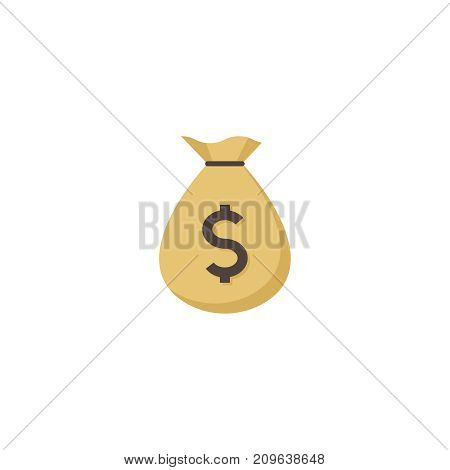 Monet bag  flat icon. Single high quality flat symbol of gambling for web design or mobile app. Color sign of casino for design logo, visit card, etc. Exclusive of lottery.