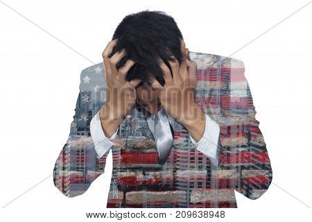 Abstract of stress businessman from work anonymous face. Double exposure photo a business man and American flag