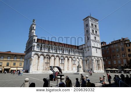 LUCCA, ITALY - JUNE 03: San Michele in Foro Church in Lucca, Italy, on June 03, 2017.
