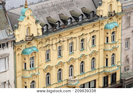 ZAGREB, CROATIA - OCTOBER 16: Facade of the old city building on Ban Jelacic Square in Zagreb, Croatia on October 16, 2016.