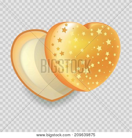 Heart-shape open gift box of shiny iridescent orange color with gold stars isolated vector illustration on transparent background. View from above on container of unusual form for original present package.