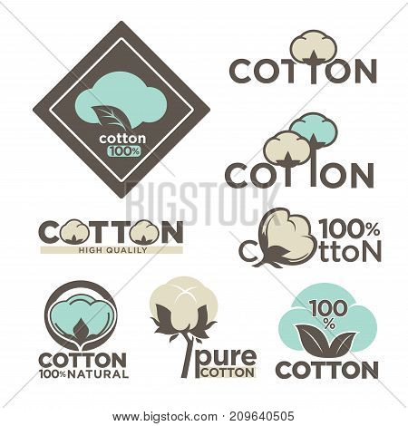 Cotton labels or logo for pure 100 percent natural cotton textile tags. Vector isolated icons set for clothing label or eco fabric design template of leaf, flower and thread in needle