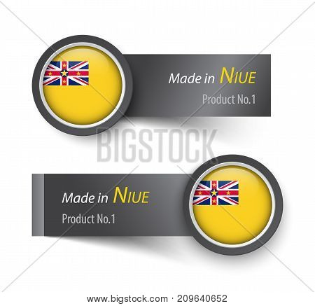 Flag Icon And Label With Text Made In Niue