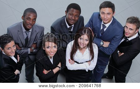 Elevated view of large group of multiethnic business people smil