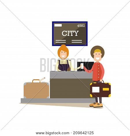 Airport check-in vector illustration. Airline check-in attendant female at counter and passenger male with luggage. Airport people flat style design element, icon isolated on white background.