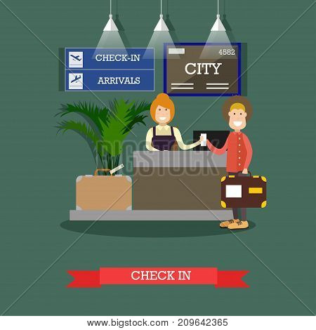 Airport check-in vector illustration. Airline check-in attendant female at counter and passenger male with luggage. Flat style design.