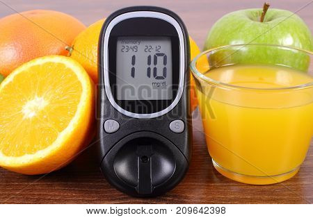 Glucometer For Checking Sugar Level, Fresh Fruits And Juice, Diabetes, Healthy Lifestyles And Nutrit
