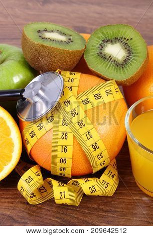 Medical Stethoscope, Fresh Fruits, Juice And Centimeter, Healthy Lifestyles And Nutrition