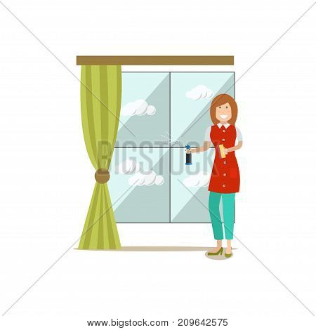 Vector illustration of cleaning lady washing window. Cleaning people flat style design element, icon isolated on white background.