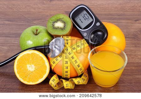 Glucose Meter For Checking Sugar Level, Stethoscope, Fruits, Juice And Centimeter