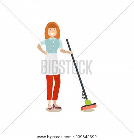 Vector illustration of cleaning lady with sponge mop. Cleaning people flat style design element, icon isolated on white background.