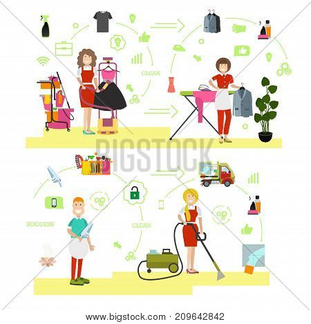 Vector illustration of cleaning company staff male and female ironing clothes, doing vacuuming. Cleaning people symbols, icons isolated on white background. Flat style design.