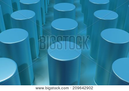 Plain Blue Surface With Cylinders