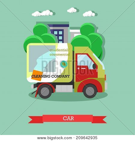 Vector illustration of cleaning company car. Professional residential and commercial cleaning services concept flat style design element.