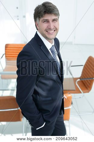 businessman on an empty office background