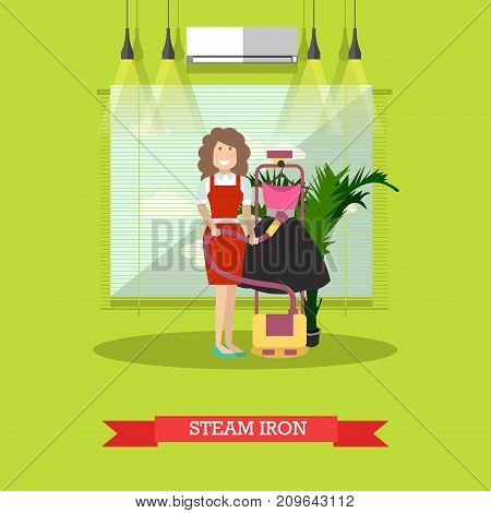 Vector illustration of cleaning woman ironing clothing with steam iron. Cleaning company services concept design element in flat style.