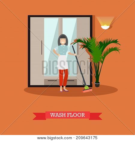 Vector illustration of cleaning woman washing floor with sponge mop. Cleaning company services concept design element in flat style.