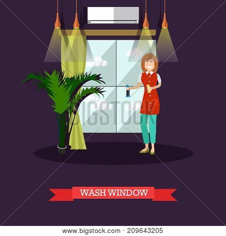 Vector illustration of cleaning woman washing window. Cleaning company services concept design element in flat style.