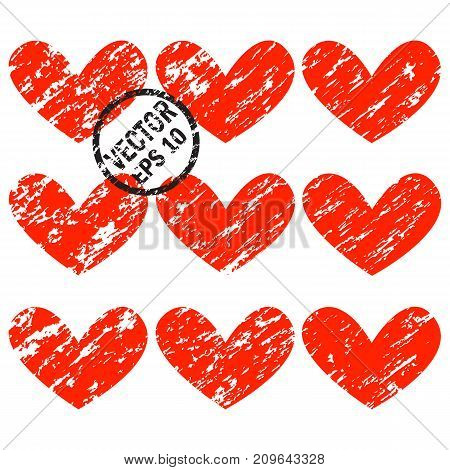 Grunge hearts. A set of hearts with diagonal grunge scrapes to the Saint Valentine's Day and other holidays